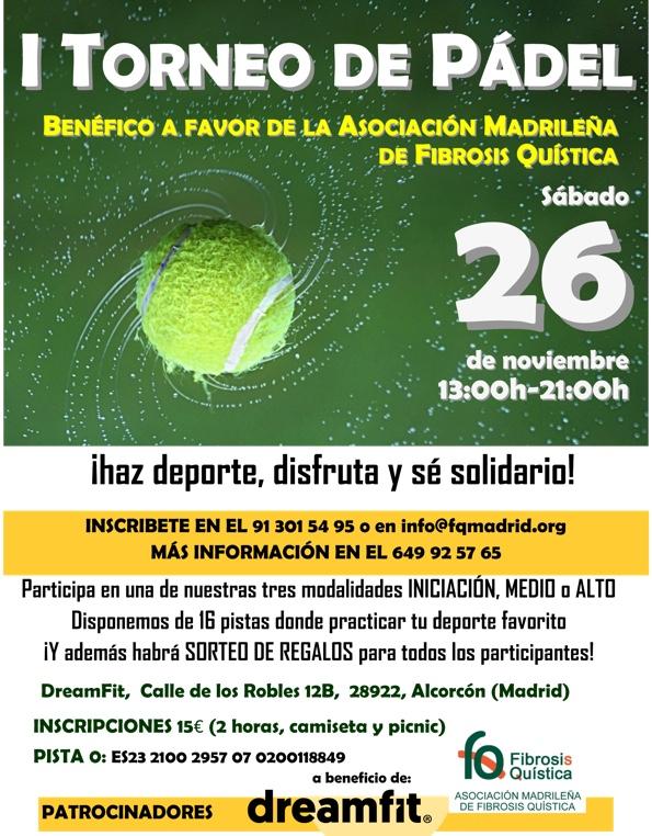 Cartel del torneo benéfico a favor de la asociación Madrileña de fibrosis quística
